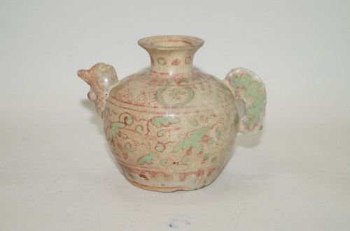 Rare Ming dynasty over glaze enamel chicken shape water dropper