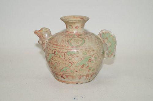 Rare Ming dynasty over glaze enamel chicken shape water dropper