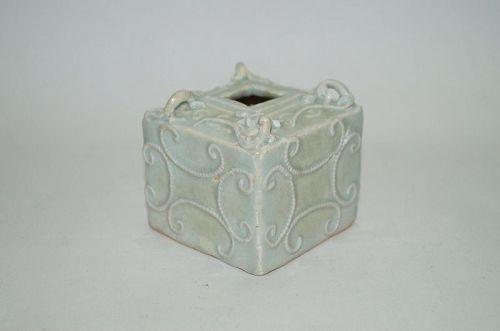 Rare Yuan dynasty qingbai 4 dragon square jar