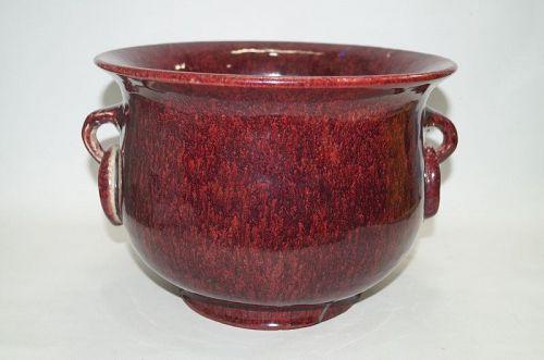 Qing dynasty 18th century Flambe Jun type copper red glaze censer