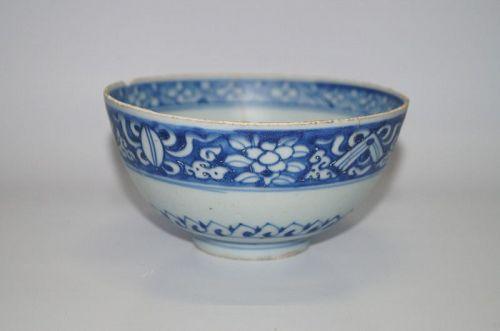 Late Ming Jiajing Wanli blue ground white flower motif.