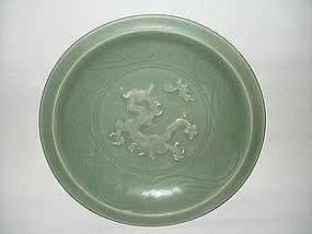 Yuan dynasty longquan celadon dish with dragon motif