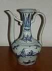 A Ming 15th century interregnum blue and white ewer