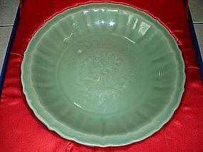 Yuan - Ming longquan celadon dish (flower motif)