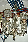 European colonial crystal / glass chandelier 5 arms
