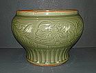 Yuan longquan celadon peony guan jar