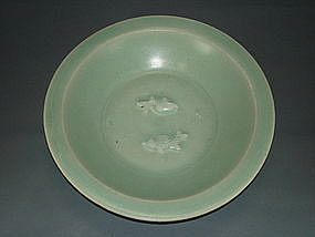 Song dynasty blue green celadon twin fish big dish