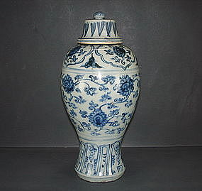 Ming 15th century blue and white meiping with cover