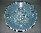 Ming Wanli blue glaze white slip large dish 32 cm