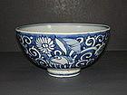 Ming Wanli white on blue ground bowl