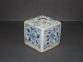 Rare Yuan blue and white square jar, dragon motif.