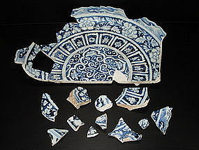 Rare sample of Yuan blue and white large dish 46 cm