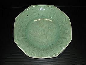 Rare Ming longquan celadon octagonal dish 30 cm
