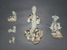 Rare Yuan dynasty qingbai iron spot Guanyin figure