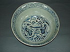 Yuan dynasty blue and white bowl with mandarin ducks