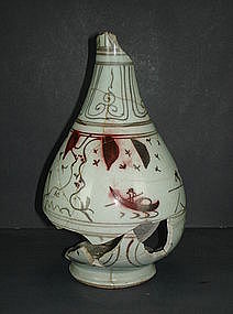 Rare Yuan red under glaze yuhuchun vase, sampan motif