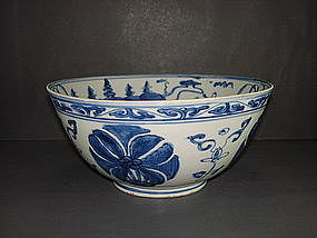 Ming dynasty blue and white large bowl 22.5 cm