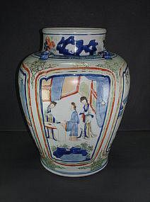 Transitional Qing Shunzhi - Kangxi wucai enamel jar