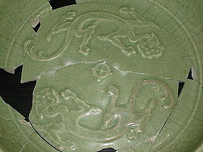 Sample of Yuan celadon dish with unusual dragon motif