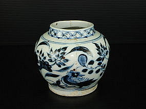 Rare sample of Yuan blue and white jar with ducks motif