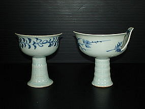 Sample of Yuan blue and white stem cup with anhua motif