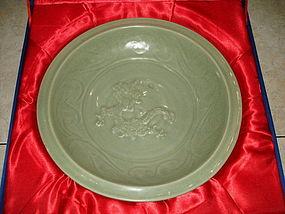 Yuan dynasty longquan celadon dragon large dish 35 cm