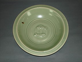 Song - Yuan dynasty longquan celadon twin fish dish.