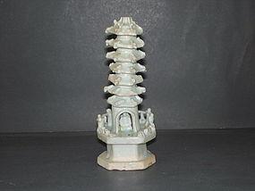 Rare Yuan dynasty qingbai glaze miniature pagoda 15cm