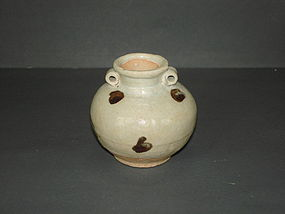 Yuan dynasty iron spoted small jar with two lugs