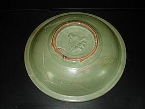 Rare sample of Yuan longquan celadon dragon dish