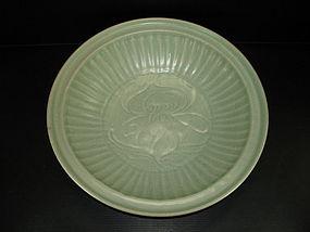 Yuan longquan celadon large dish flower motif 35.5cm
