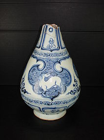 Rare Yuan blue and white yuhuchun, horse motif