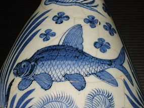Rare Yuan blue and white yuhuchun, fish motif