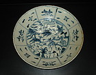 Ming swatow blue and white large dish, deer motif