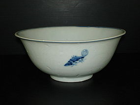 Rare early Ming blue and white fish with anhua bowl