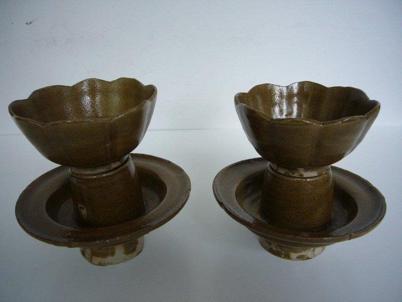 Rare Pair of Yaozhou Wine Cups on Stands
