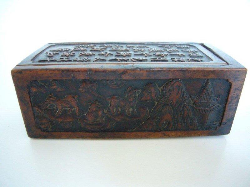 Rare Chinese Carved Boxwood Box