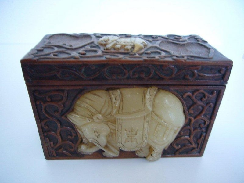 Chinese Carved Redwood Box with Soapstone Ornaments