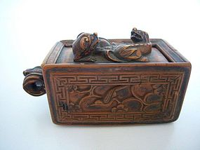 Rare Chinese Carved Boxwood Tobacco Box