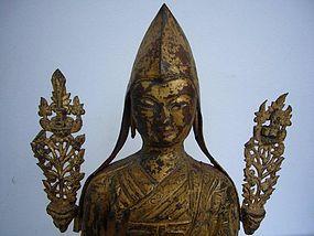 Tibetan Gilt Repoussé Copper Lama