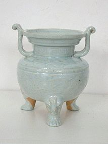 Yuan Dynasty Qingbai Tripod Censer