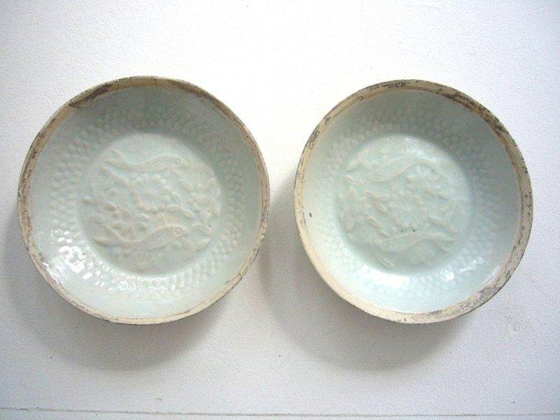 Pair of Song/Yuan Qingbai Fish Plates