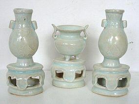 Rare Yuan Dynasty Qingbai Altar Set