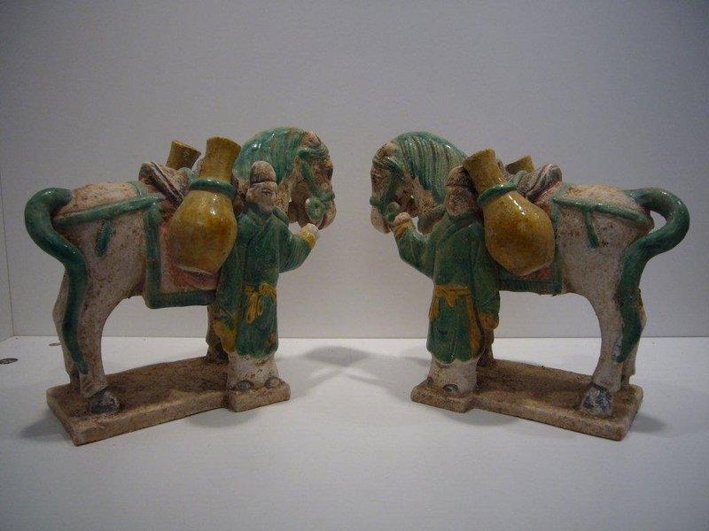 Chinese Ming Dynasty Horses and Grooms