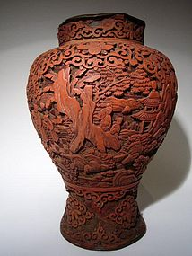 Qing Dynasty Cinnabar Lacquer Vase
