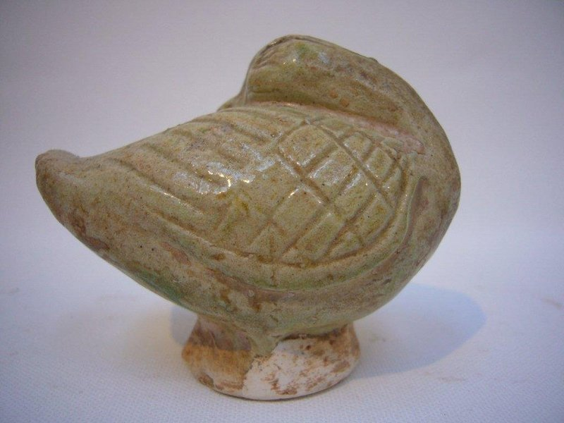 Tang Dynasty Yellow Glazed Pottery Resting Duck