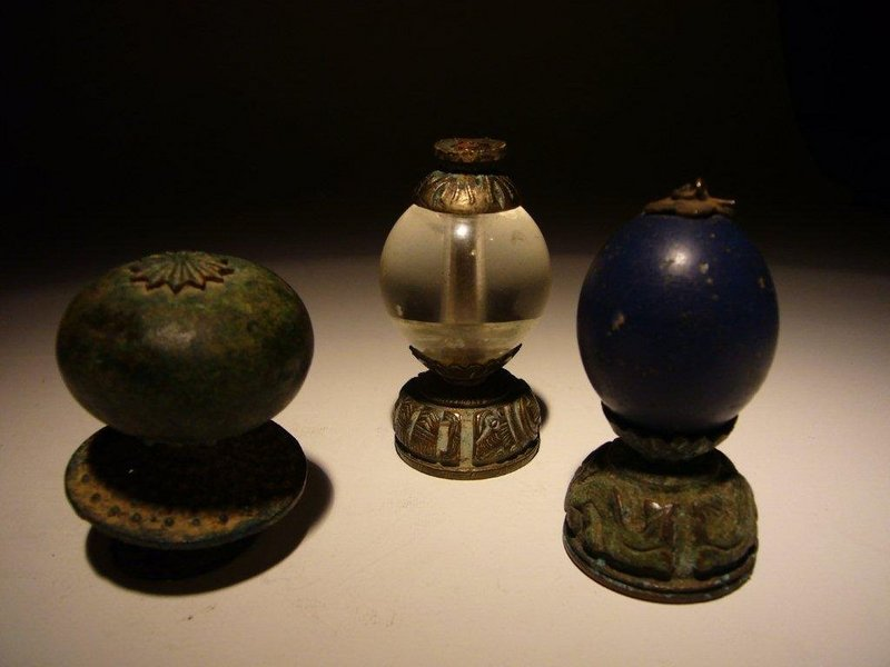Three Chinese Hat Finials, 19th Century.
