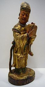 Chinese Wooden Deity 19th Century