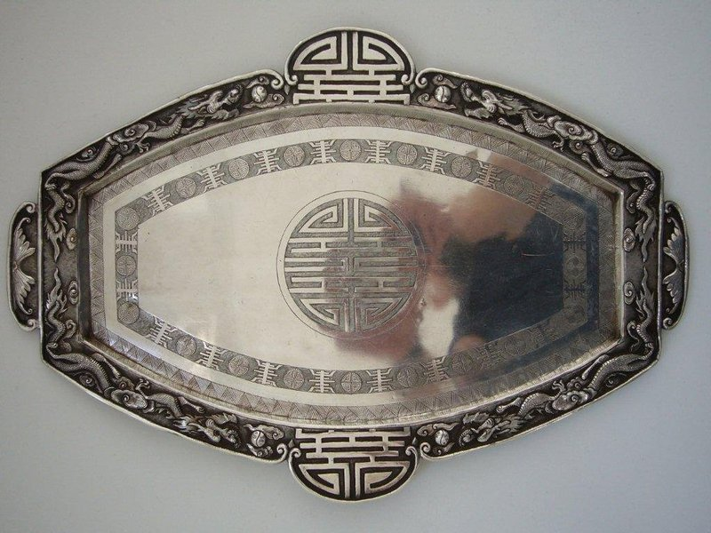 Large Chinese Silver Tray Late Qing