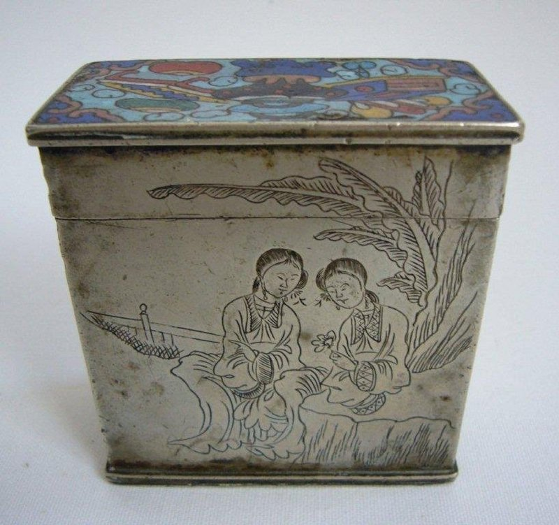 Large Chinese Paktong Opium Box Late Qing